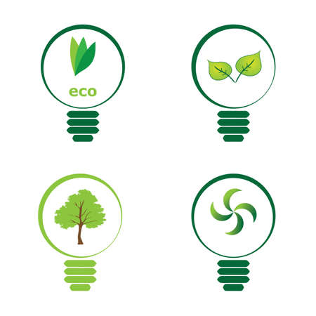 superimpose: Renewable green energy: 4 Light Bulb Illustration