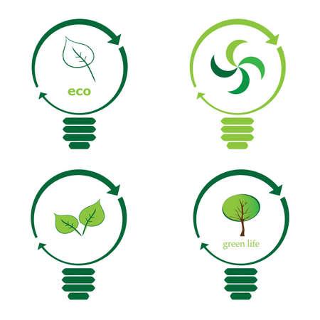 Renewable green energy: 4 Light Bulb Stock Vector - 10270525