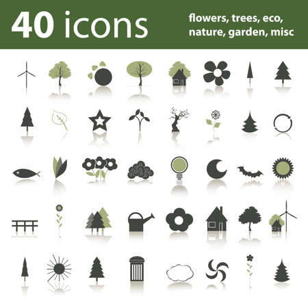 sol luna: 40 iconos: flores, �rboles, eco, naturaleza, jard�n, misc  Vectores