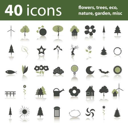 zon en maan: 40 pictogrammen: bloemen, bomen, eco, natuur, tuin, misc