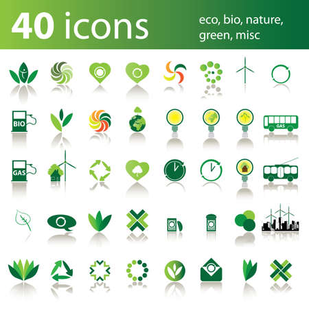 40 icons: eco, bio, nature, green, misc Stock Vector - 10270571