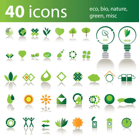 bio fuel: 40 icons: eco, bio, nature, green, misc