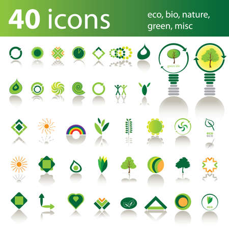 house energy: 40 iconos: eco, bio, naturaleza, verde, misc