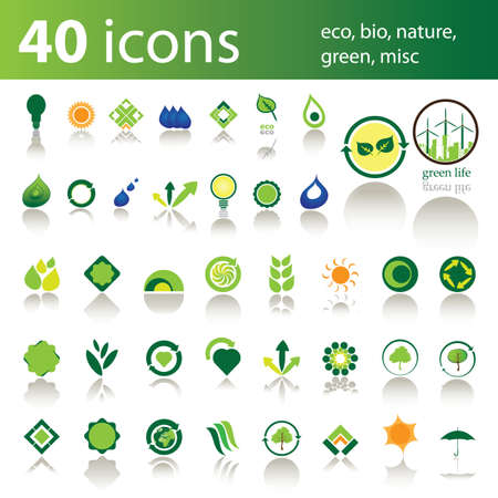 40 icons: eco, bio, nature, green, misc Vector