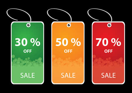 christmas flyer background: Vector illustrations of discount sale tags