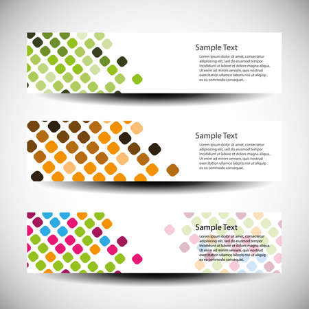 header label: Colorful set of tree header design Illustration