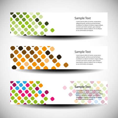 web header: Colorful set of tree header design Illustration