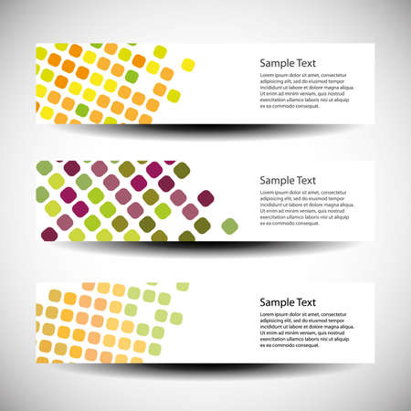 Colorful set of three header design Vector