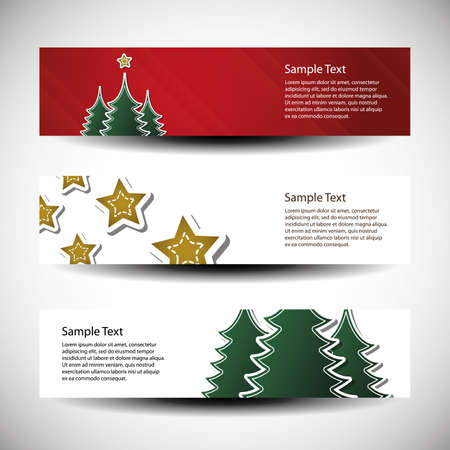 Christmas set of tree header design Stock Vector - 10260386