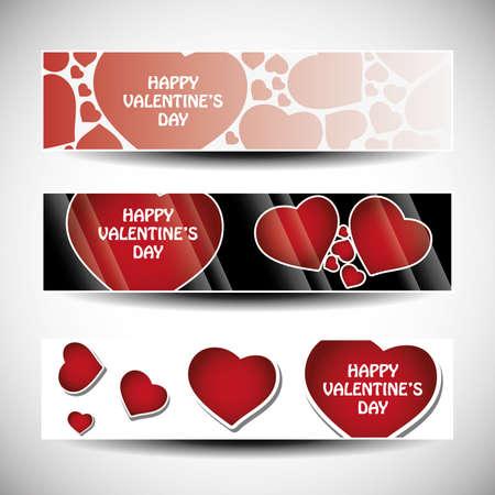 Vector set of three Valentines Day header design  Vector