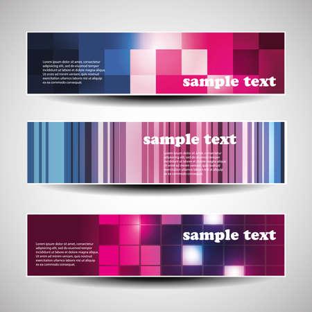 Three abstract header design Vector