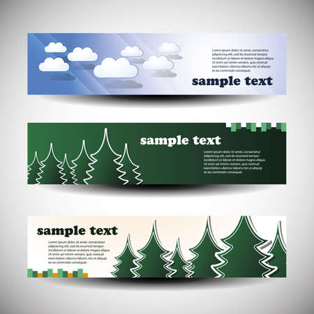 firs: set of tree header design