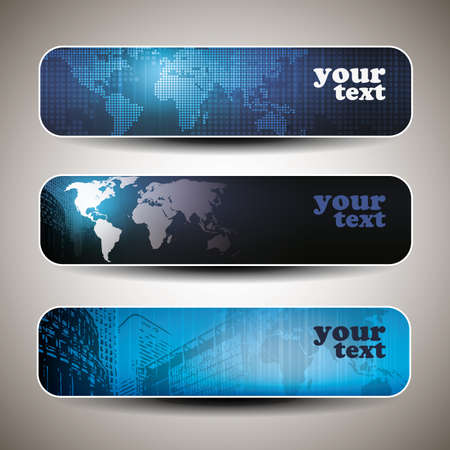 set of three header design Vector