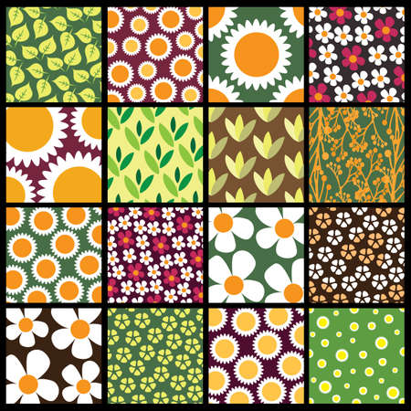 16 Colorful Abstract Backgrounds: Flowers Stock Vector - 10421839