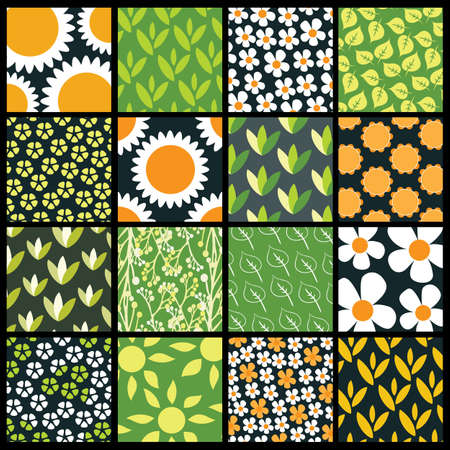 16 Colorful Abstract Backgrounds: Flowers Vector