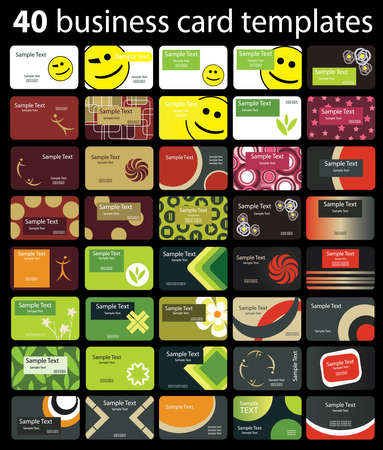 business card template: 40 Colorful Business Cards