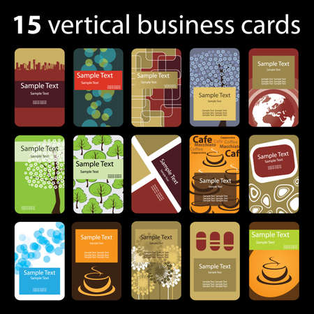15 Colorful Vertical Business Cards Vector