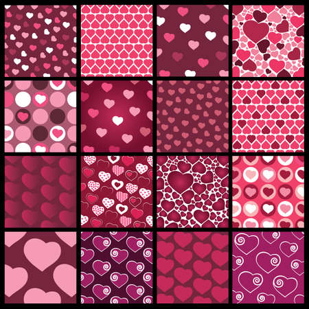 16 Colorful Abstract Backgrounds: Hearts Stock Vector - 10473565