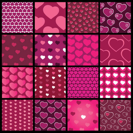 16 Colorful Abstract Backgrounds: Hearts Stock Vector - 10473560