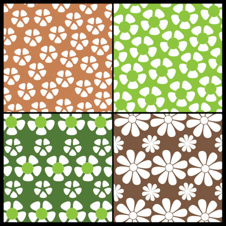4 Colorful Abstract Backgrounds: Flowers Vector