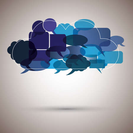 Speech bubble cloud made from small bubbles Vector