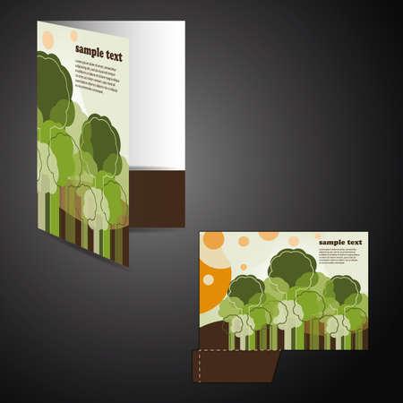 die cut: Corporate folder with die cut design Illustration