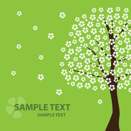 Greeting Card: Nature, Spring, Cherry Flowers Vector