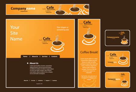 Business Set: Banner, Envelope, Business Card, CD, Stationery, Notepaper  Vector