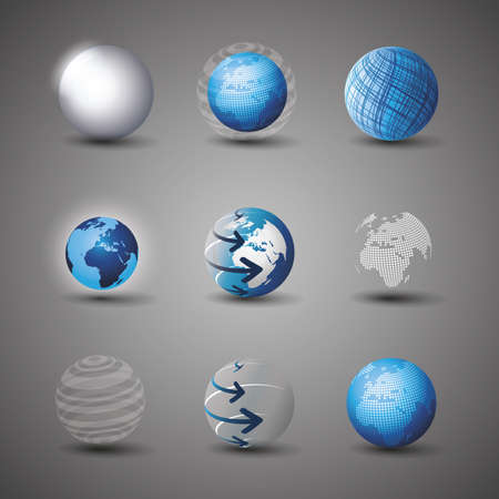 Collection Of Globe Designs Vector