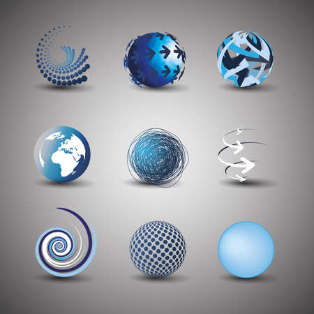 Collection Of Globe Designs Stock Vector - 10519910