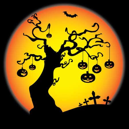 moon  owl  silhouette: Halloween Card