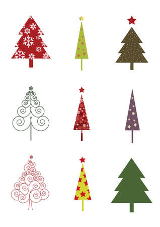 Beautiful and Colorful Christmas Trees Stock Vector - 10602710