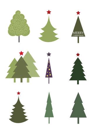 seasonal symbol: Hermoso y colorido de los �rboles de Navidad Vectores