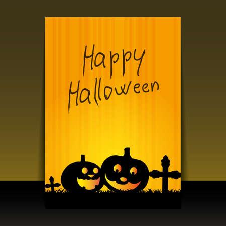 calabazas de halloween: Volante de Halloween o dise�o de portada