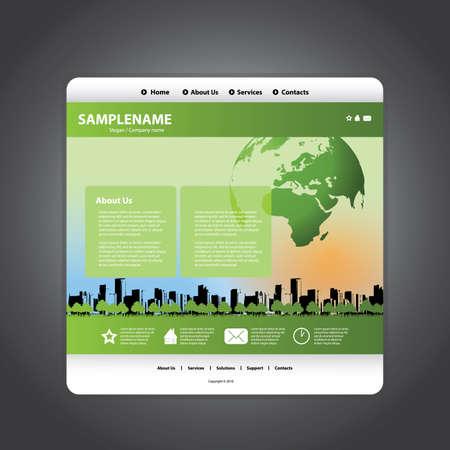 green buildings: Business website template in editable vector format