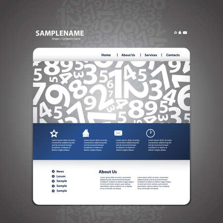 number button: Abstract business web site design template vector  Illustration