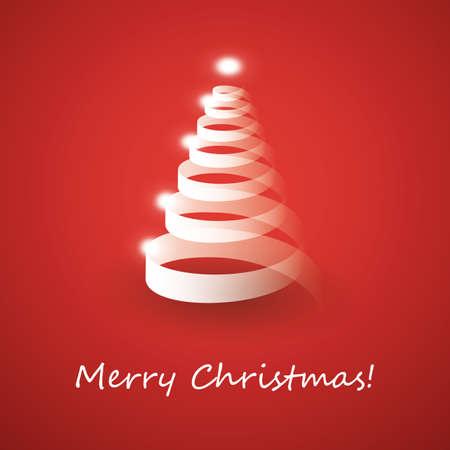 lent: Christmas tree made from white ribbon Illustration