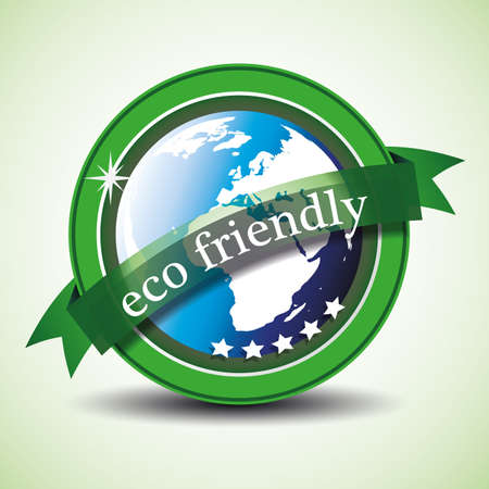 earth friendly: Ilustraci�n etiqueta ecol�gica