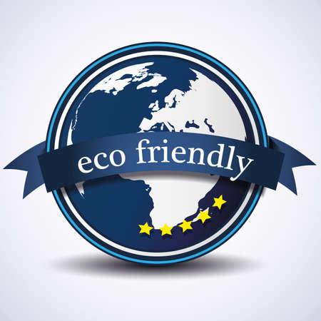 earth friendly: Ilustraci�n de etiqueta ecol�gica