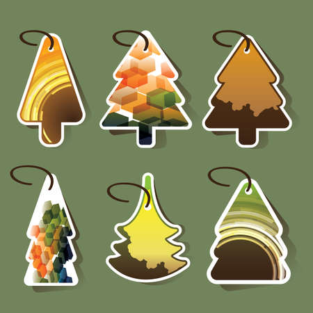 Christmas tree price tags or cards Vector