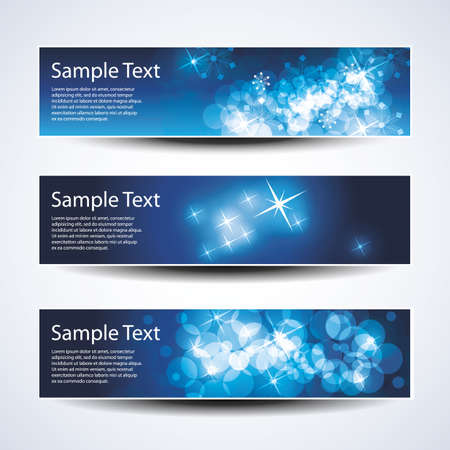 Set of horizontal Christmas, New Year banners Vector