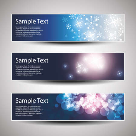 gloss banner: Set of horizontal Christmas, New Year banners