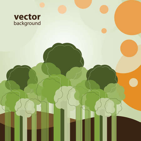 Greeting Card with Trees Stock Vector - 11016657