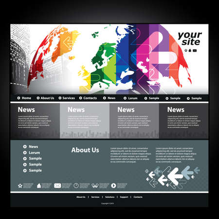 EUROPE MAP: Website template Illustration