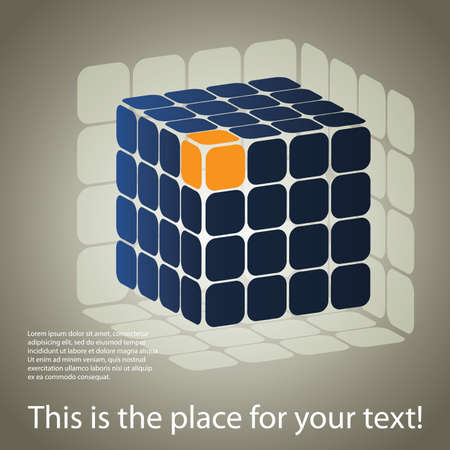 business solutions: 3D cube puzzle box background