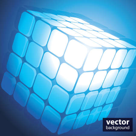 A three sided cube puzzle box in 3D Vector