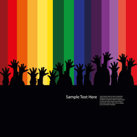 jubilation: Hands in the dark in front of a rainbow stage