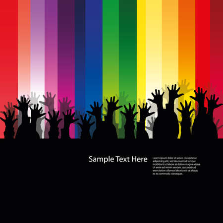 jubilation: Audience hands in the dark - vector design