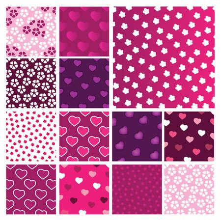 flores fucsia: Un conjunto de patrones de día de San Valentín
