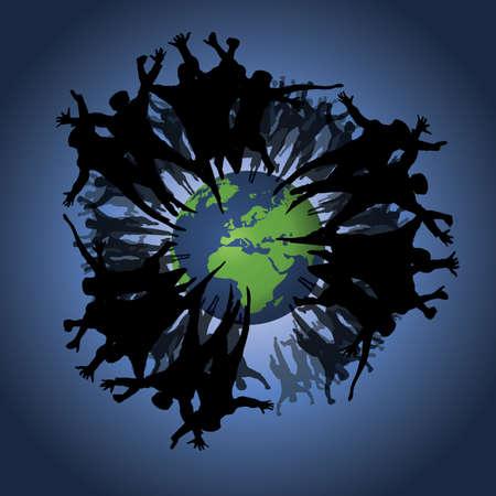 Mensen achtergrond: eco, aarde Vector Illustratie